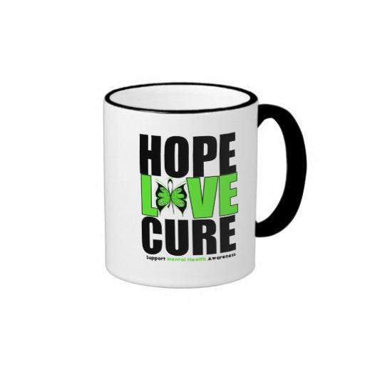 Mental Health - Hope Love Cure Ringer Coffee Mug