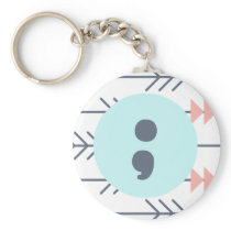 mental Health Keyring-Semicolon-Recovery-Support Keychain