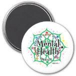 Mental Health Lotus 3 Inch Round Magnet