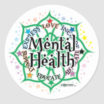 Mental Health Lotus Classic Round Sticker
