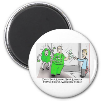 Mental health Month Go Lime 2 Inch Round Magnet