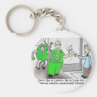 Mental health Month Go Lime Basic Round Button Keychain