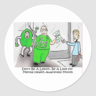 Mental health Month Go Lime Classic Round Sticker