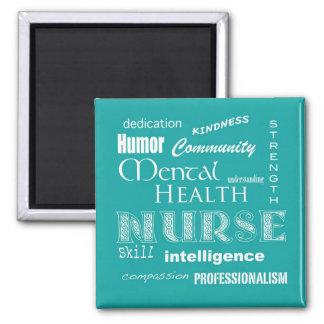 Mental Health Nurse Attributes-Aqua Blue Magnet