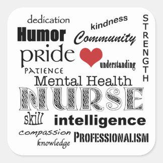 Mental Health Nurse Attributes-Black on White Square Sticker