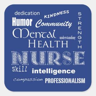 Mental Health Nurse Attributes-Blueberry Square Sticker