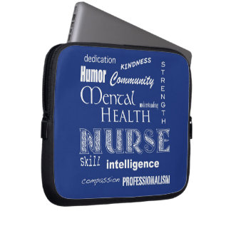 Mental Health Nurse-Attributes/Dark Blue Laptop Sleeve