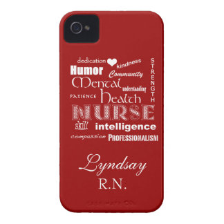 Mental Health Nurse-Attributes-Deep Red iPhone 4 Case-Mate Cases