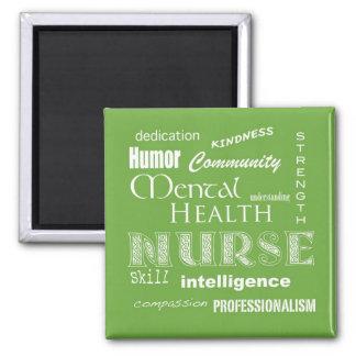 Mental Health Nurse Attributes-Lime Green Magnet