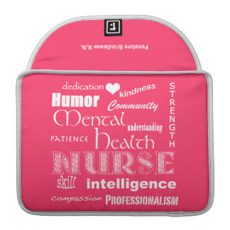 "Mental Health Nurse-Attributes/Name/Pink+White/13"" Sleeve For MacBook Pro"