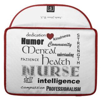 "Mental Health Nurse-Attributes/Name/Red+White/15"" MacBook Pro Sleeves"