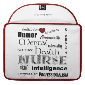 "Mental Health Nurse-Attributes/Name/Red+White/15"" Sleeve For MacBook Pro"