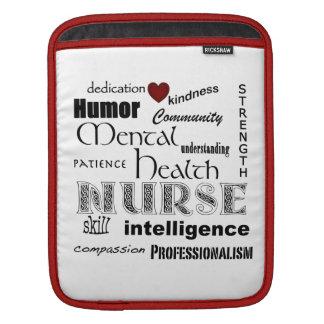 Mental Health Nurse-Attributes+red heart iPad Sleeve