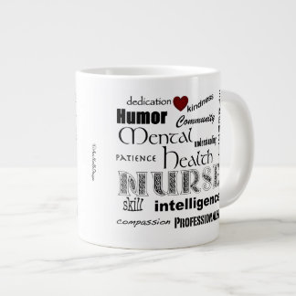 Mental Health Nurse-Attributes+red heart Large Coffee Mug
