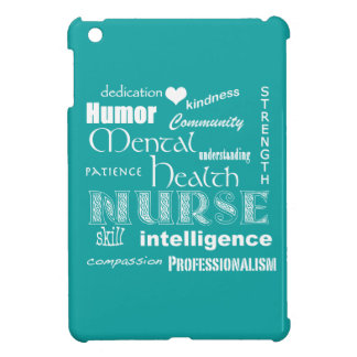 Mental Health Nurse Attributes+White Heart/Aqua iPad Mini Covers