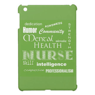 Mental Health Nurse Attributes+White Heart/Green iPad Mini Case