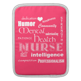 Mental Health Nurse-Attributes+white heart Pink iPad Sleeves
