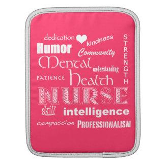 Mental Health Nurse-Attributes+white heart/Pink iPad Sleeves