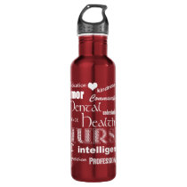 Mental Health Nurse-Attributes/White Text heart Stainless Steel Water Bottle