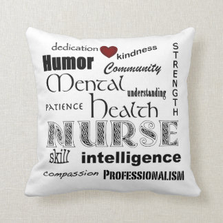 Mental Health Nurse-Attributes/with red heart Throw Pillow