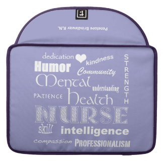 "Mental Health Nurse-/Name/Soft Lavender+White/13"" Sleeve For MacBooks"