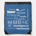 Mental Health Nurse Pride-Attributes/Medium Blue Drawstring Bags
