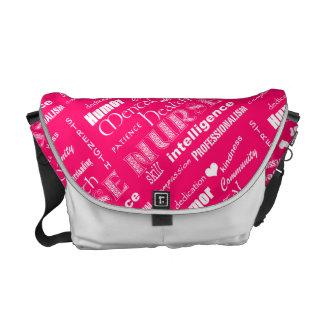 Mental Health Nurse Pride-Attributes/Pink+Heart Messenger Bags