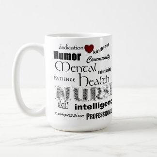 Mental Health Nurse Pride-Attributes+Red Heart Classic White Coffee Mug