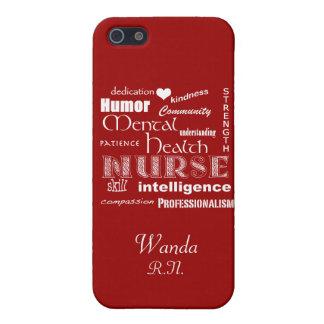 Mental Health Nurse Pride+Heart/Deep Red Case For iPhone 5