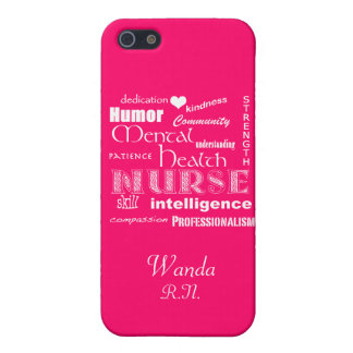 Mental Health Nurse Pride+Heart/Hot Pink iPhone 5/5S Covers