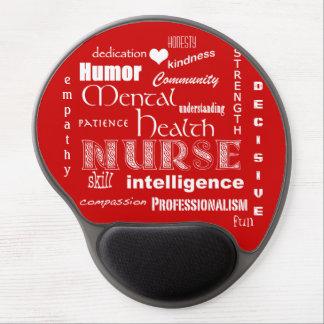 Mental Health Nurse Pride+Heart/Red Gel Mouse Pad