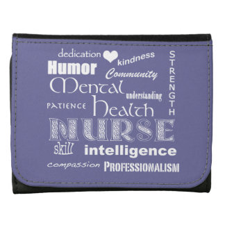 Mental Health Nurse-Word Cloud/Lavender Leather Trifold Wallets