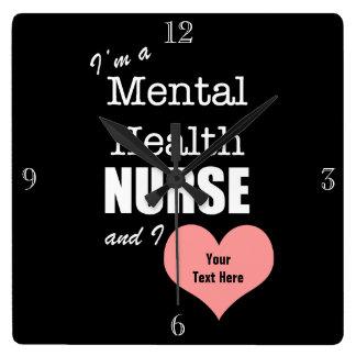 Mental Health Nursing-Customize Text+Pink Heart Square Wall Clock