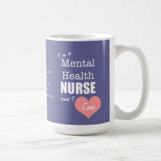 Mental Health Nursing-I Care+Pink Heart Classic White Coffee Mug