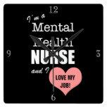 Mental Health Nursing-Love my Job!+Pink Heart Wallclocks