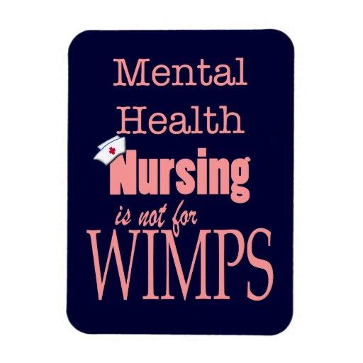 Mental Health Nursing-Not for Wimps+Nurse Cap/Pink Rectangular Photo Magnet