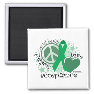 Mental Health Peace Love Acceptance 2 Inch Square Magnet