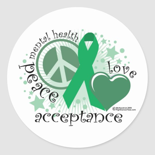 Mental Health Peace Love Acceptance Classic Round Sticker