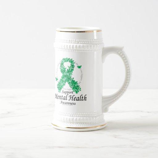 Mental Health Ribbon of Butterflies 18 Oz Beer Stein