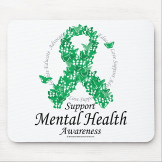 Mental Health Ribbon of Butterflies Mouse Pad