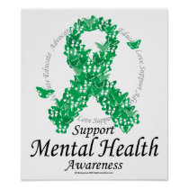 Mental Health Ribbon of Butterflies Poster