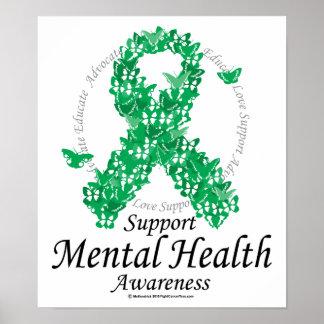 Mental Health Ribbon of Butterflies Poster