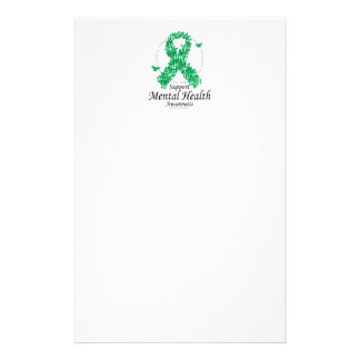 Mental Health Ribbon of Butterflies Stationery