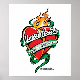 Mental Health Tattoo Heart Print