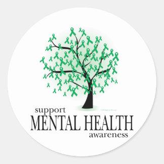 Mental Health Tree Round Stickers