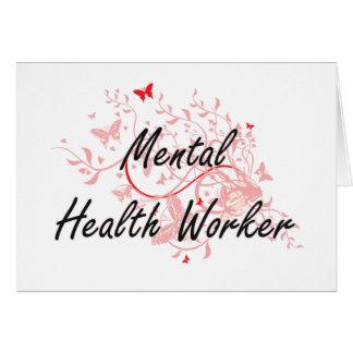 Mental Health Worker Artistic Job Design with Butt Card