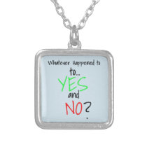 Mental Health YES or NO Silver Plated Necklace