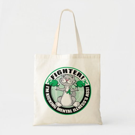 Mental Illness Cat Fighter Tote Bags