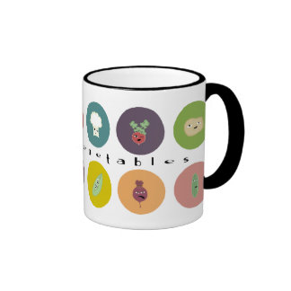 mental vegetables polka ringer coffee mug