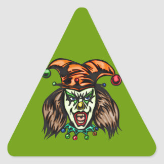 Mentally Unstable Evil Clown Triangle Sticker